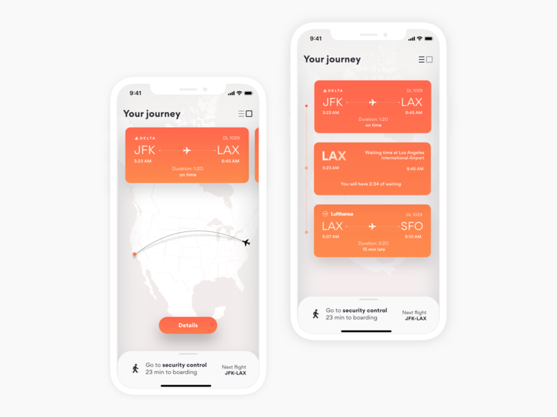 Flight Journey Assistant boardingpass journey assiatant flight airport travel minimal design ux app ui