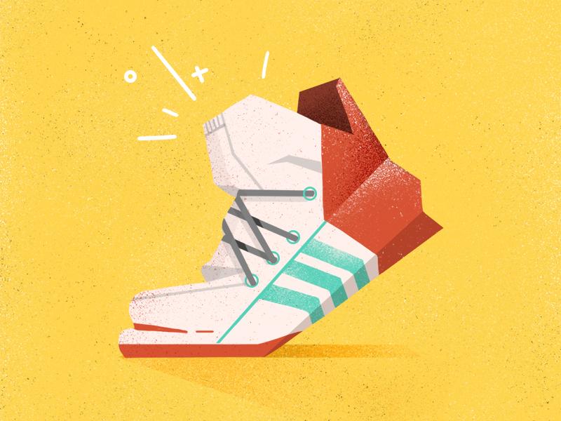 kick it! styleframe design graphic summer kick foot shoe hand drawn photoshop vector illustration 2d