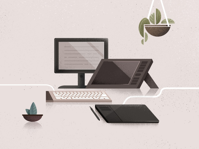 tools of the trade. tablet plants designer space work computer texture photoshop illustrator vector illustration 2d