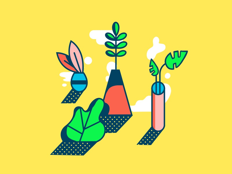 plant friends. styleframe design leaf cloud plants bright photoshop illustrator illustration vector 2d