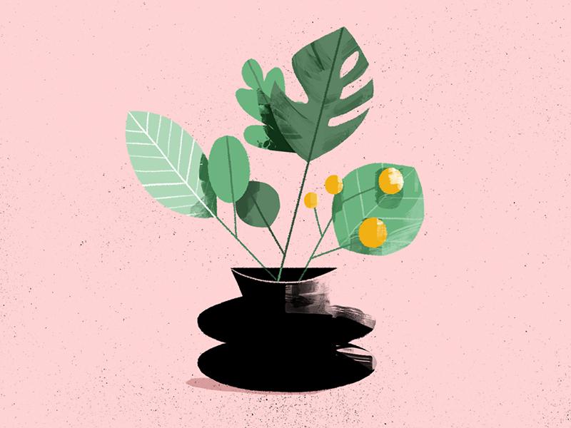 plants forever and ever. sketch doodle photoshop texture vase leaves plant illustration 2d