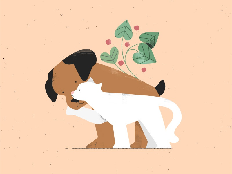 the snuggle is real. cat dog photoshop leaves plant character illustration 2d