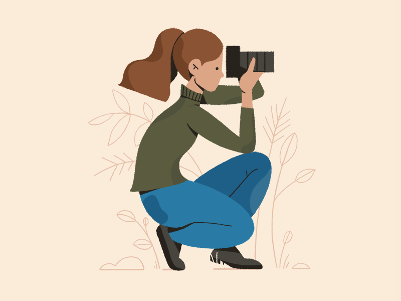 photos among the foliage plants girl graphic photoshop styleframe texture character 2d illustration