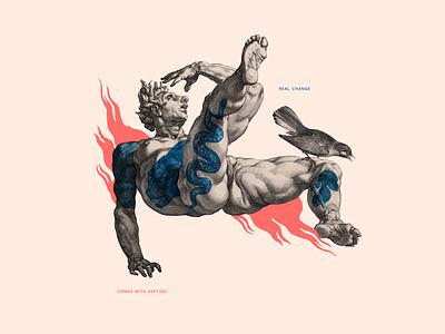 Real change comes with vertigo body animals illustration collage