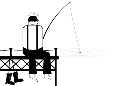 Gone Fishing blackandwhite lineart character adobe illustrator fisherman fishing