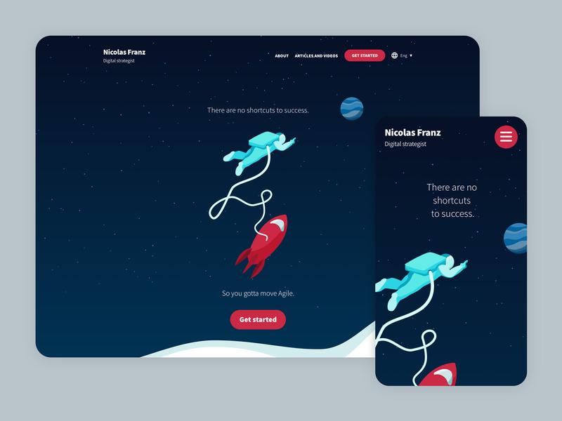 Nicolás Franz Website agile marketing planets stars space astronaut webdesign website ui copywriting illustration
