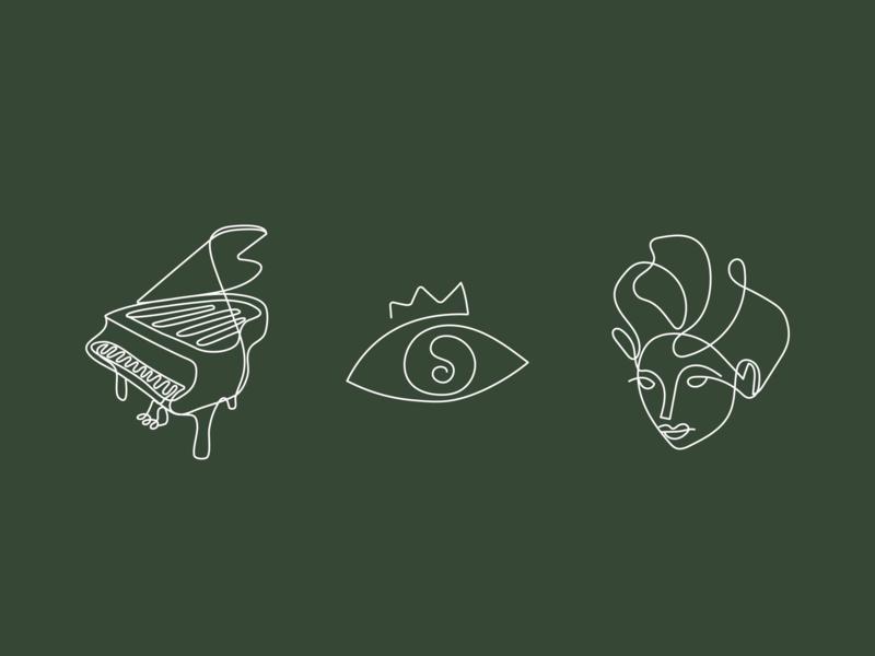 Illustrations for restaurant branding icons music venue bar restaurant poetry woman music art vector design logo illustration branding