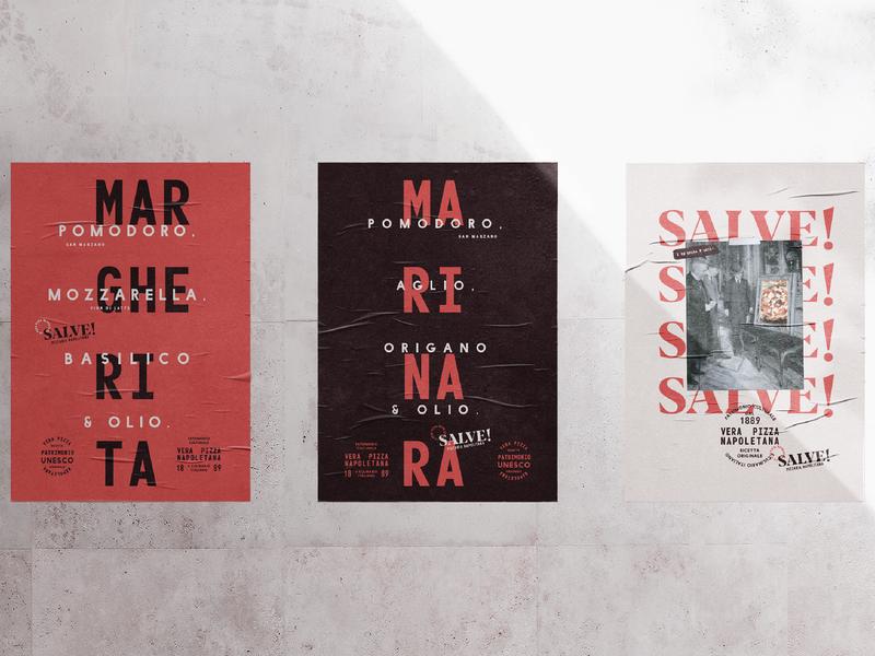 Salve! Pizzeria Napoletana lettering typography red italian logo florianópolis brasil brazil posters restaurant pizza branding