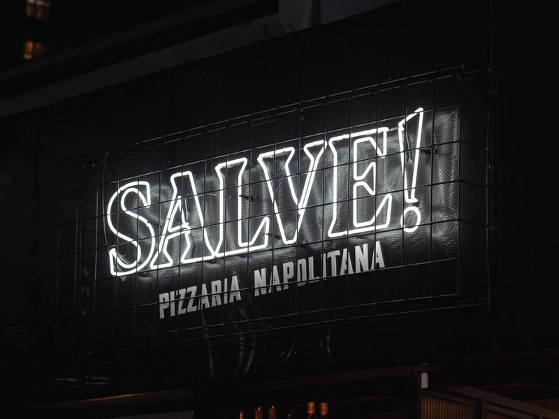 Salve! Pizzeria Napoletana storefront façade architecture logotype florianopolis brasil neapolitan pizzeria pizza restaurant branding neon logo neon lights neon logo