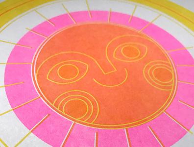2-color sun risograph print illustrator vector illustration design risograph sun
