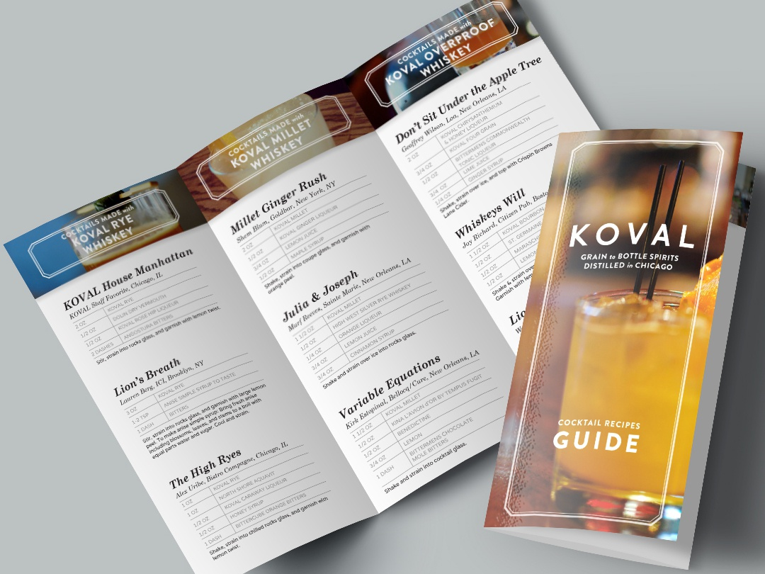 Koval Recipe Brochure booklet design booklet recipe book distillery koval branding print design layout design