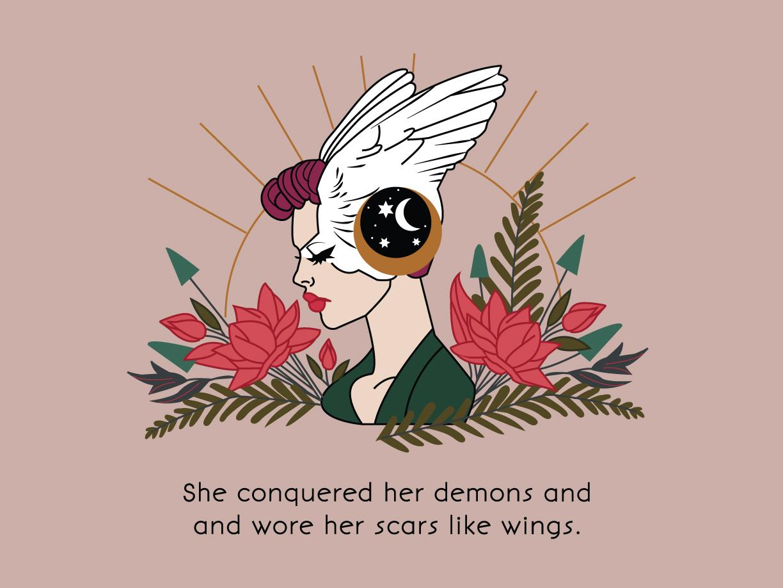 She Conquered Her Demons female empowerment character design illustrator vector illustration design