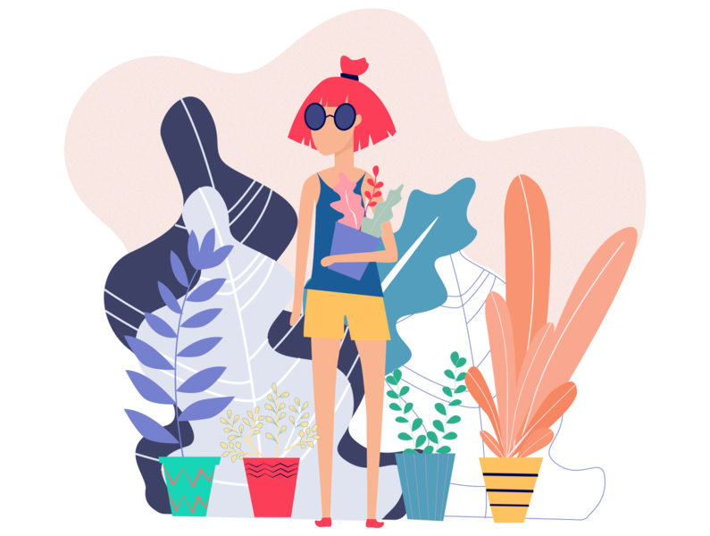 plant lady characterdesign october design onboarding uidesign ui girl plant illustration flower illustration cactus sunglasses girl character flower plant illustraion character