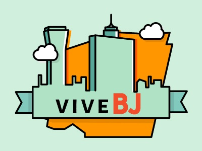 Vive BJ badge skyline benito juárez mexico illustration city badge