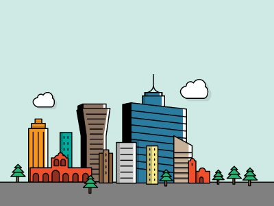 Vive BJ skyline mexico mexico city outline illustration color city skyline