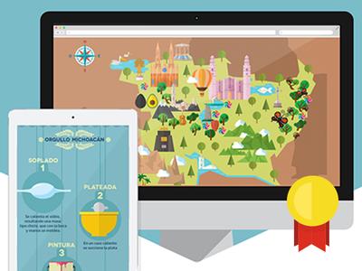 Clap Platino: Orgullo Michoacán campaign digital illustration win map michoacan mexico flat design award