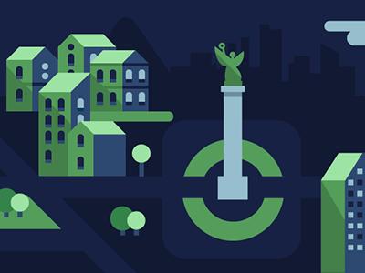 Detail illustration illustration flat green blue mexico city mexico construction city