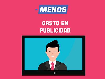 Más y menos illustration flat ad politician tv mexico