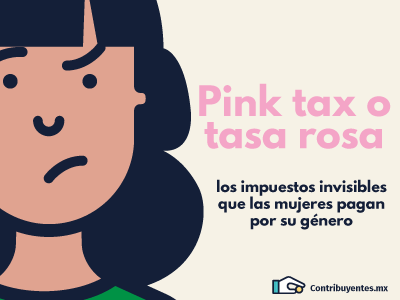 Contribuyentes México gender women mexico taxes infographic character illustration pink tax