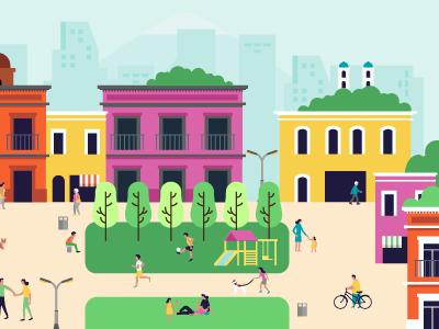 Puebla identidad skyline city illustration vector desing puebla flat people color flat-desing