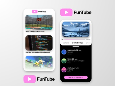 FunTube Mobile Concept white black pink mobile ui phone concept mobile