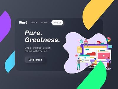 Blast - A Landing Page landing page design landing page ui landing design website concept modern illustration web design colorful dark ui dark theme dark website design website landing page