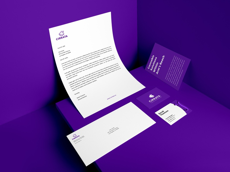 Cirrata Brand Stationery purple stationery print design print logo marketing collateral collateral brand identity graphic design branding creative direction art direction design