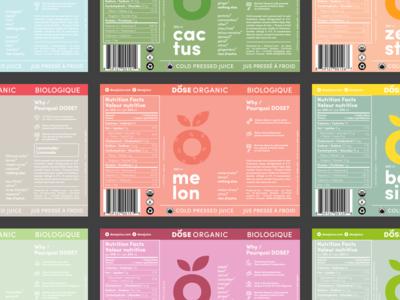Dose Labels: Revisited packaging colour design cold pressed juice dose