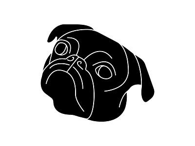 Toshi animal drawing line illustration puppy dog pug toshi