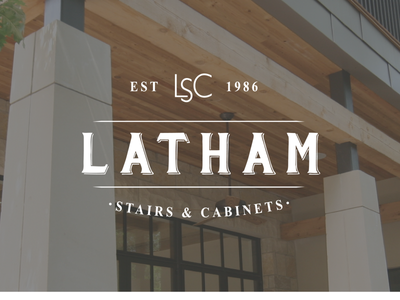 New Design for Latham Stairs & Cabinets. photography luxury homes woodworking millwork stairs cabinets blue brown logo