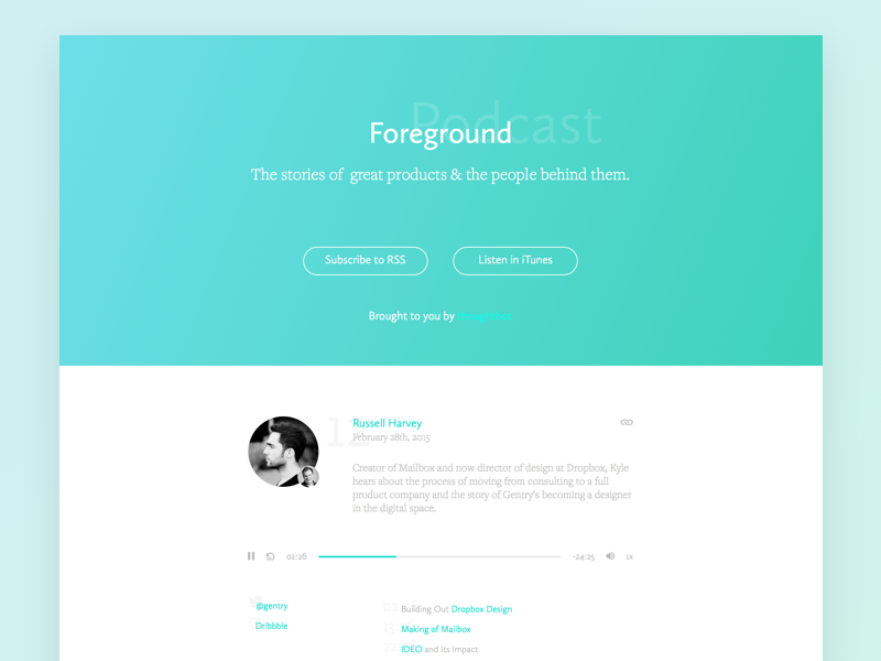 Foreground Design Podcast landing page podcast