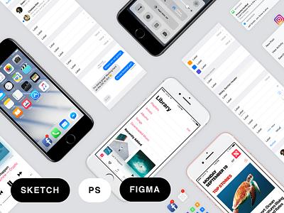 Facebook iOS 10 Sketch, Figma, & PSD GUI tools iphone ios 10 ios gui free facebook design facebook