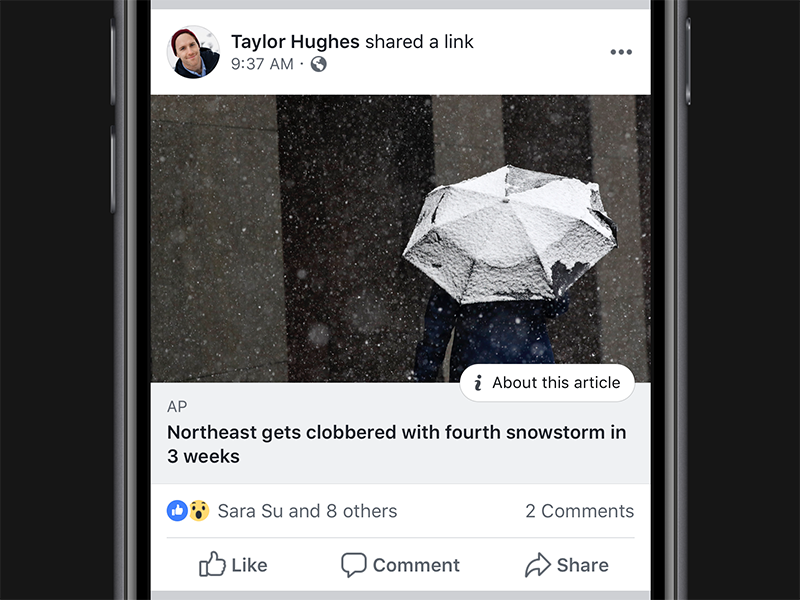 Additional Context on News Stories in News Feed news feed misinformation facebook