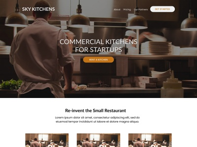 SkyKitchens Landing Page food restaurants startup small business marketing page landing page