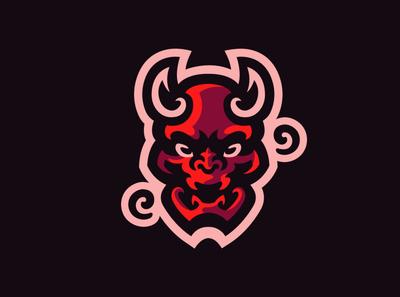 Oni demon cute red red bull skull demonic demon branding vector logo mascot logo esports illustration logotype design