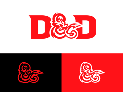 Dungeons & Dragons logo redesign dungeon dragon skull red typography esports logo branding vector logo mascot logo esports illustration logotype design