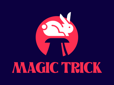 Magic Trick logo 1 blue bundle black animal skull red illustration logotype vector design branding magic trick magic bunny rabbit