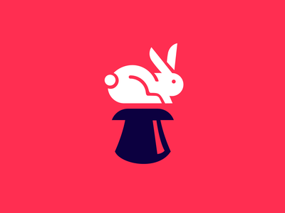Magic Trick logo 2 rainbow icon mascot logo red ui typography esports illustration logotype design responsive bunny retro rabbit