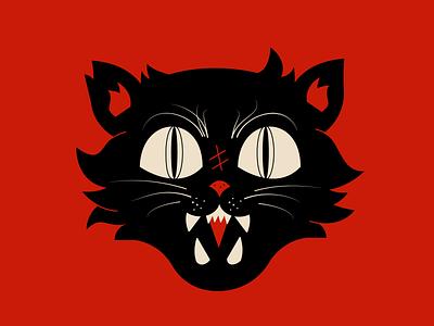 Spooky cat 1 branding vector mascot logo esports logotype illustration design animal cat red halloween logo motion graphics graphic design 3d animation ui