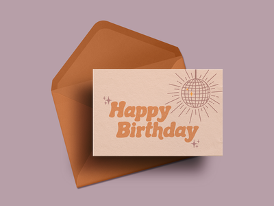 Disco Birthday Card 70s disco ball procreate app procreate disco retro birthday card handlettering typography illustration digital art design graphic design