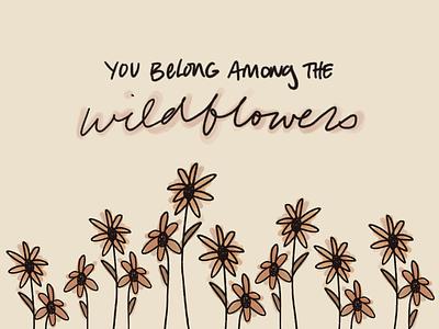 Wildflowers boho handlettering design botanical art illustration procreate typography procreate art wildflowers