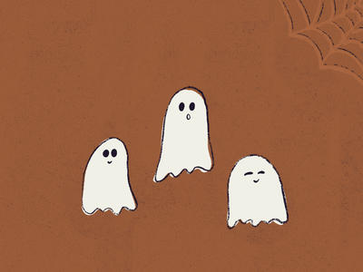 Orange Ghosts ghost graphics spooky halloween ghost ghosts procreate digital art illustration graphic design design