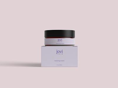 Jovi Skin Restoring Cream modern logo jar packaging skincare packaging skincare branding skincare scandinavian modern minimal packaging typography logo branding graphic design design