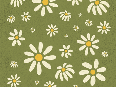 Daisies 🌼 pattern daisy illustration green yellow springtime spring flowers vintage illustration 70s vintage retro digital illustration procreate illustration digital art graphic design design daisy daisies