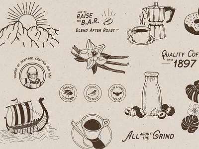 PapaNicholas Coffee brand marks marks icon coffee branding coffee brand coffee vintage retro typography digital illustration branding procreate digital art illustration graphic design design