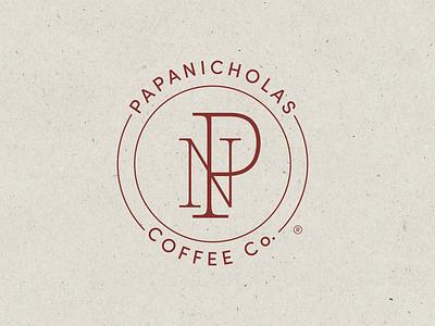 PapaNicholas Coffee Co. emblem icon brand mark monogram coffee branding coffee brand coffee minimal typography branding digital art graphic design design