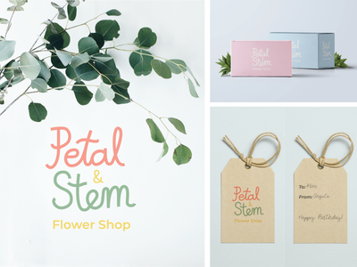 Petal & Stem Flower Shop Branding digital art flower shop hand lettering handlettering logo typography branding packaging design graphic design