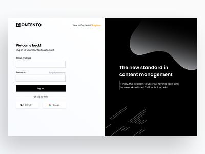 contento cms login page branding illustration design logo ux ui