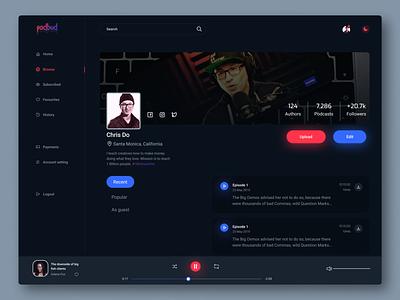 PodBud Podcast Author Page user profile author design admin dashboard podcasting desktop podcast dark theme dashboad ux ui