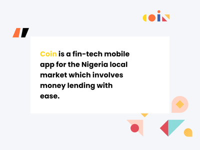 Coin Loan App - Fintech lending mvp nigeria text pattern design logo description ux design ui design mobile app design coin loan fintech app
